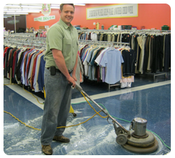 Photo of man with floor polisher
